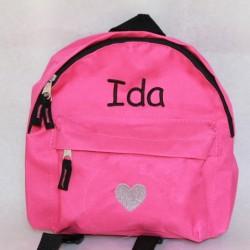 Pink børne rygsæk med navn på