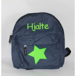 Mørkeblå børnerygsæk med stjerne og navn på