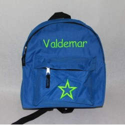 Blå børne rygsæk med navn på
