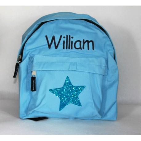 Lyseblå børnehave rygsæk med stjerne og navn på
