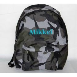 Camouflage rygsæk med navn på