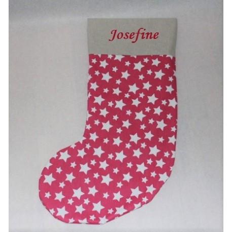 Pink julestrømpe med stjerner og navn på