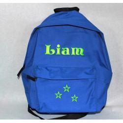 Blå Junior rygsæk med navn på
