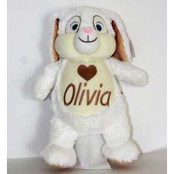 Kanin bamse med navn på maven.