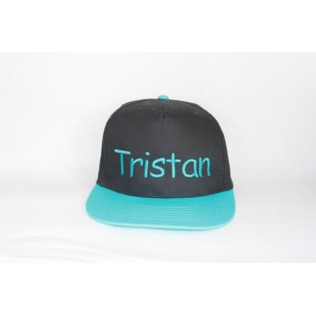 Sort -tyrkis snapback cap med navn på
