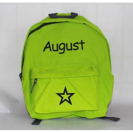 Limegrøn børne-junior rygsæk med navn på