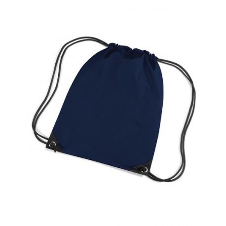 Mørkeblå gymnastikpose med navn på