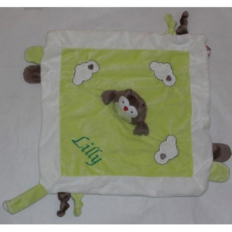 Kids Concept lysegrøn ugle sutteklud med navn på