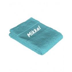 Tyrkisblå badehåndklæde med navn på