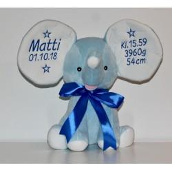 Lyseblå elefant bamse med navn på