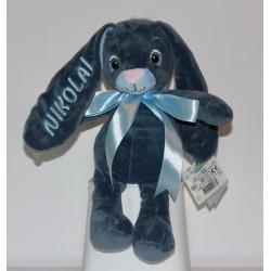Mørkeblå MyTeddy bamse kanin med navn på