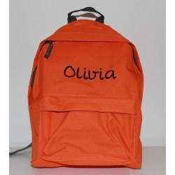 Orange børne-junior rygsæk med navn på