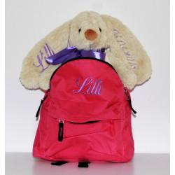 Pink børnerygsæk og kanin bamse med navn på