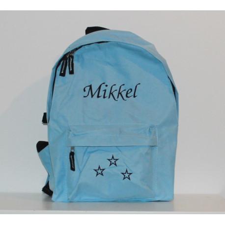 Lyseblå rygsæk med navn på