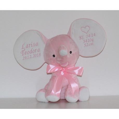 CUbbies Lyserød elefant med navn og fødselsdato.