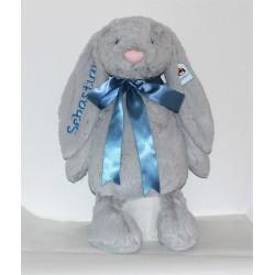 Stor Bashful silver kanin bamse med navn på 36cm.