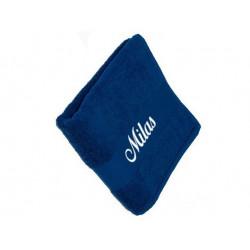 Mørkeblåt håndklæde med tekst på