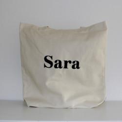 Canvas shopping taske med navn på