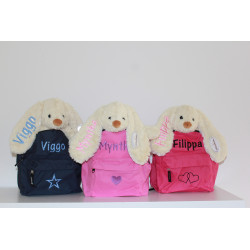 Teddykompaniet Molly kanin bamse og børn taske sæt med navn på