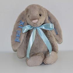 Jellycat Beige Kanin bamse med navn 31cm.