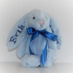 Jellycat lyseblå Kanin bamse med navn 31cm.