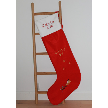 Mega julesok med navn på. XL julestrømpe med navn