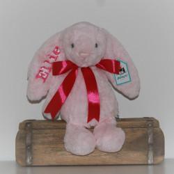 Jellycat lyserød  bamse med navn 31cm.