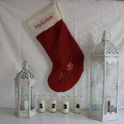 Mørkerød luksus uld julestrømpe med navn på.