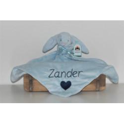 Jellycat lyseblå kanin nusseklud med navn og hjerte på.