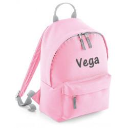Børne rygsæk i lyserød med navn på