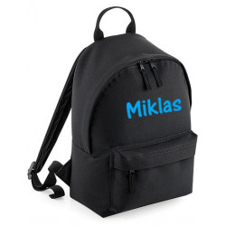 Børne rygsæk i sort med navn på