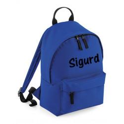 Børne rygsæk i blå med navn på