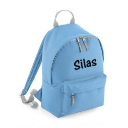 Børne rygsæk i lyseblå med navn på