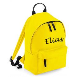 Børne rygsæk i gul med navn på