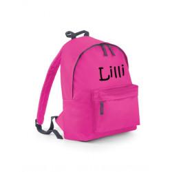 Pink Junior taske med navn på