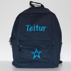 Mørkeblå Junior -børne rygsæk med navn på