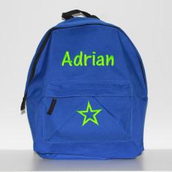 Blå børne-junior rygsæk med navn på