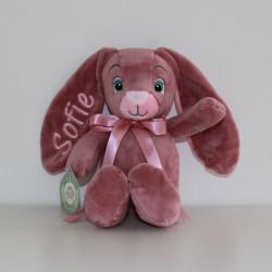 MyTeddy rosa kanin bamse med navn på. 28 cm