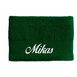 Mørkegrønt håndklæde med navn på