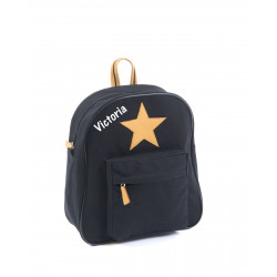 Smallstuff lille sort rygsæk med navn på