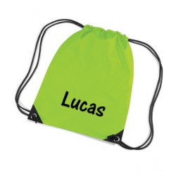 Limegrøn gymnastikpose med navn på