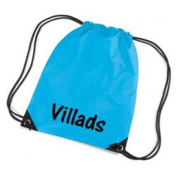 Tyrkisblå gymnastikpose med navn på