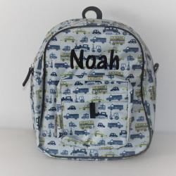 Smallstuff rygsæk med køretøjer og navn på