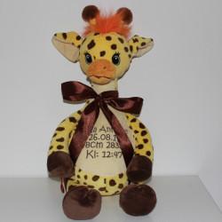 Cubbies stor personlig Giraf bamse med navn på