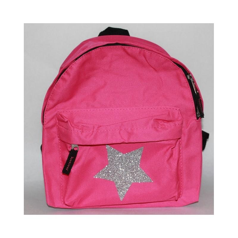 NATogVIC.dk  Pink børnetaske med stor glimmer stjerner og med navn på