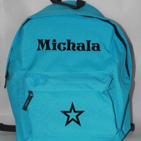 Tyrkisblå rygsæk med navn -Skoletaske