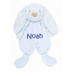 Teddykompaniet Lyseblå Lolli bunnies nusseklud med navn på