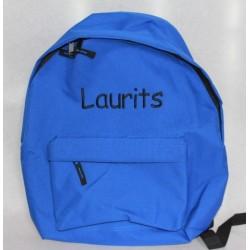 Blå rygsæk med navn på -Skoletaske