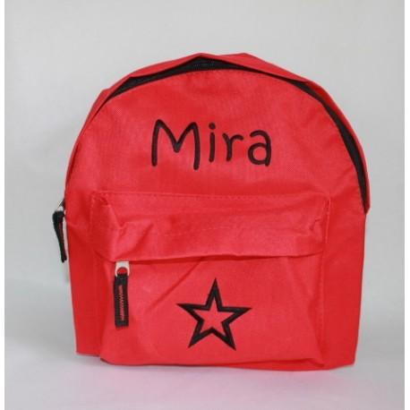 Rød børne rygsæk med navn på