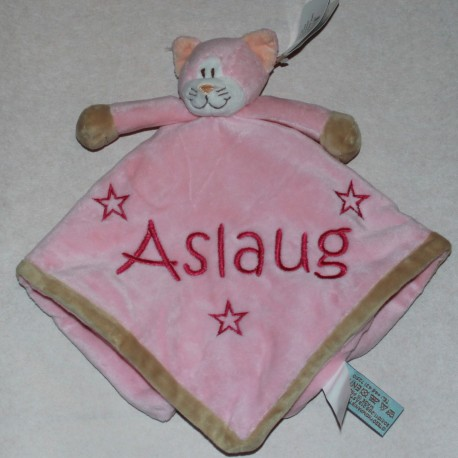 Teddykompaniet lyserød kat sutteklud med navn på